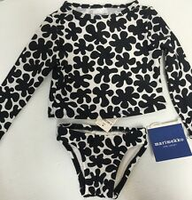 NEW Marimekko Target Toddler Girl Print Rash Guard 2 Pc Swimsuit Sz 9 Mo B&W