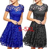 Fashion Elegant Hallow Out Lace Dress Party Slim Dresses Plus Size S-5XL LJ
