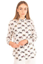 New ListingRrp €280 Equipment Silk Shirt Blouse Size L Lightweight Motorcycle Print