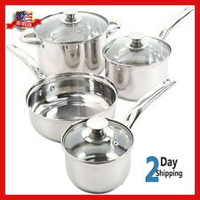 7 Piece Stainless Steel Cookware Set Non Stick Cooking Pots and Pans Kitchen S