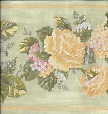 Country Yellow Roses, Pink Hydrangeas on Green Distressed Look WALLPAPER BORDER