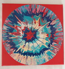 "12"" Lp Mounted Art Acrylic Paint Pour Painting Multicolor Teal Pink Blue Red"
