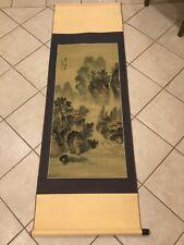 Beautiful Japanese Waterfall scroll hand painted on silk Artist Signed 48�