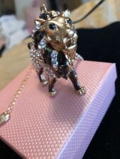 Betsey Johnson Necklace Tiger Lion Gold Tiger Crystals Bling Gift Box