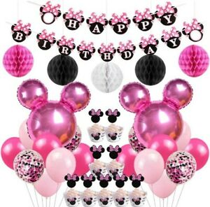 Disney Minnie Mouse Themed Birthday Party Decorations Supplies banner, balloons+