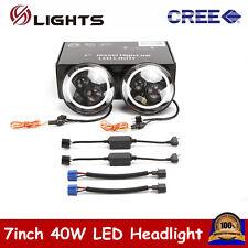 "2X 7""40W LED Halo Angel Eyes Headlight Round Lamp For Jeep Wrangler JK TJ Hl/Lo"