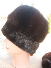 "#33 fit size 22.5""in unisex  dark brown mink fur hat trim dark mink edge"