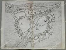 """FRANCIA. ARRAS. Pianta topografica della città di """"Arras"""". Acquaforte anno 1683"""