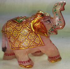 Rose Quartz Hand Carved Elephant Painted 1240 Carat Decorative Figurine 136