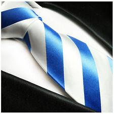Paul Malone Krawatte hellblau weiss gestreift - blaue Seidenkrawatte 413