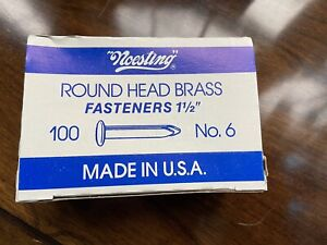 "Vintage Noesting 100 Count No. 6 Round Head Brass Fasteners 1 1/2"" Made In USA"