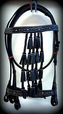 Spanish Vaqueros Bridle Headstall BLACK W/ WHITE Inlay Leather Horse Bell Tassel