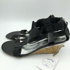 Lane Bryant Women's Black Patent Rear Zip Wedge Open Toe Sandals Size 12W EUC