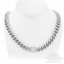 "Men's Cuban Miami Link Chain 14k White Gold Over Stainless Steel 30"" 12mm"