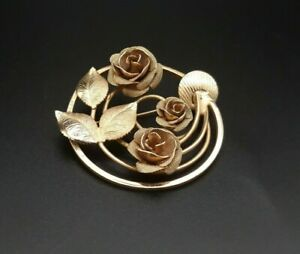 Vintage 12k Gold Fill Circle Brooch Pin with Beautiful Rose Detail