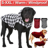 Large Dog Vest Pet Warm Jacket Clothes Winter Coat Fleece Hoodie Plaid Costumes