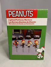 PEANUTS Lighted Pathway Markers Holiday Christmas Lucy Charlie Brown Snoopy 4-pc