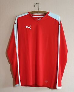 PUMA Sport Mens Top Long Sleeve Shirt DRYCELL Training Red Size Medium