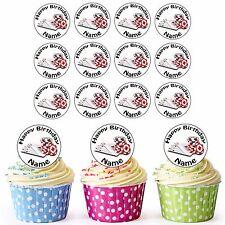 Fichas De Poker Cartas y 24 Personalizado precortadas comestibles Cumpleaños Cupcake Toppers