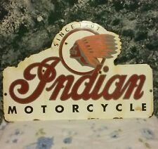 """Large Vintage Indian Motorcycle """"Since 1901"""" Dealership Porcelain Sign 20"""" X 13"""""""