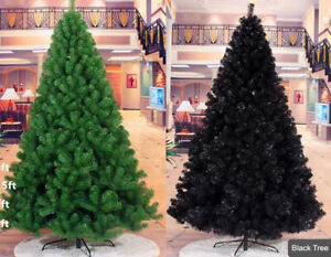 Christmas Tree Green Black 5-6-7ft Artificial Xmas Trees Metal Stand Thick Tips