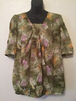 Hot in Hollywood Floral Tropical Sheer Blouse Green Lilac Orange Womens Size XL