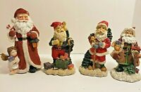 4 Santa Figurines K's Collection Resin Material Felt Base