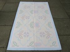 Old Traditional Hand Made Indian Dari Oriental Blue Pink Cotton Kilim 192x124cm