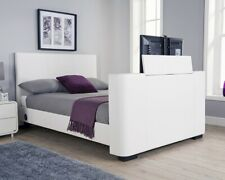 New NQP Kingsize White Faux Leather Newark TV Bed Free LOCAL Delivery