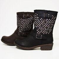 New Womens Studded Boots Jewel Biker Buckle Winter Zipper Ankle Warm Shoes Sizes