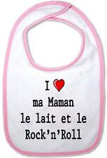 Bavoir Rose Bébé I love ma Maman le lait et le Rock'n'Roll - cadeau de naissance