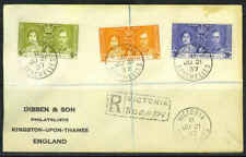 """SEYCHELLES 1937 REGISTERED """"VICTORIA"""" FDC OF KING GEORG"""