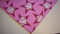 Dog Bandana/Scarf Tie On/Slide On Pink Softball Custom Made by Linda Xs, S, M, L