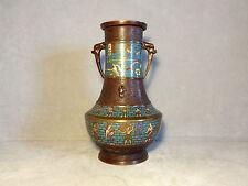 Antique Japanese Bronze Cloisonne Vase W/ Egyptian Motif