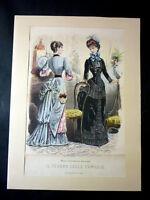 Moda - Stampa Figurino Tesoro Famiglie - Febbraio 1884
