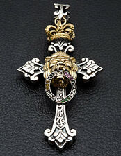ROYAL LION CROSS STERLING SILVER MENS PENDANT CROWN NEW GOTHIC BIKER FOR CHAIN