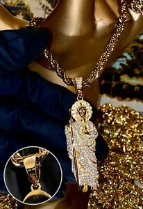 """Mens Italy 925 Silver 14k Stamp St. Jude San Pendant Rope Chain 24"""" Necklace"""