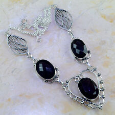 """BEAUTIFUL GENUINE HUGE FACETED AMETHYST 925 SILVER HEART LEAF NECKLACE 22 1/2"""""""