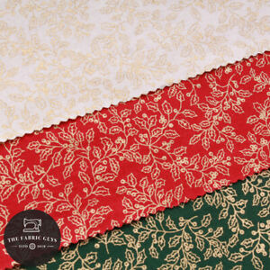 "Christmas Poplin, Gold Foil Print, Vintage Mistletoe, 44"" Wide, Festive"