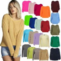 Womens Ladies Casual Basic Cosy Knitted Baggy Jumper Winter Top