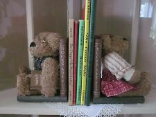 "NEW (2) Plush Teddy Bear Wooden Book Ends ""Books are Fun"" Nursery Child's Room"