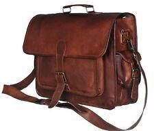 "Leather Bag Business Messenger Laptop Shoulder Briefcase Brown office 16""x12""x5"""
