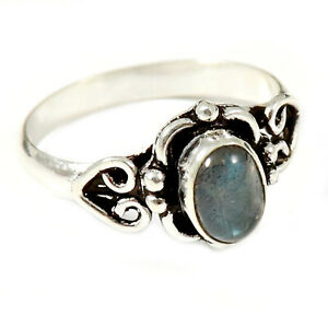 Labradorite Gemstone Solid 925 Sterling Silver Solitaire Ring Jewelry GESR186K