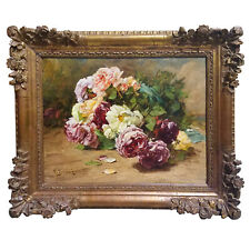 """Georges Jeannin """" Still Life With Roses """" Oil On Canvas"""