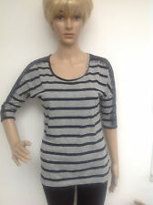 Shirt Pulli  BODYFLIRT Streifen mit schwarzer Spitze schwarz/grau Gr.34    Neu