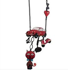 Lol Bijoux - Sautoir Pop Art - Collier - Chat - Cox - Bouches - Vespa - Rouge