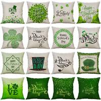 Patrick's Day Lucky Clover Cotton Linen Pillow Case Cushion Cover Home Decor