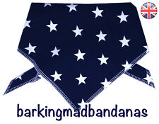 Dog Bandana, Blue Stars, Handmade Dog Bandanas Pet Neck Scarf Tie Style Cotton