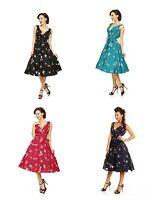 New Ladies Kushi Vintage Retro 50s Swing WW2 Rockabilly Party Dress Size 12-20