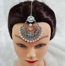 Silver Tone Bridal Maang Tikka Wedding Hair Aceessory Ethnic Forehead Jewellery